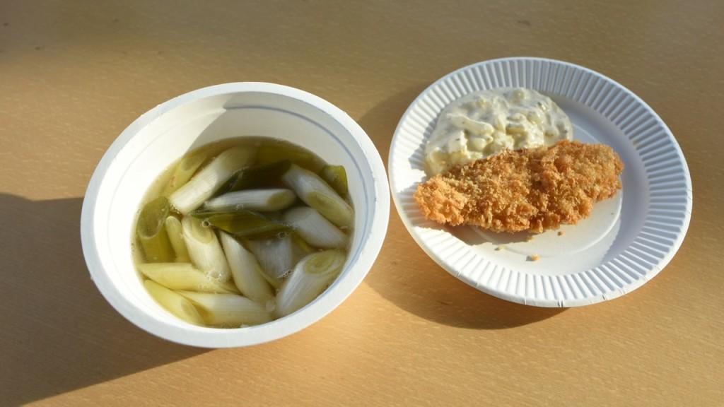 今回振る舞われたのが、カナガシラのうしお汁(左)と、カナガシラのフライ(右)。淡白な白身が最高。